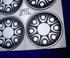 (3D-1162) 4x Embleme für Nabenkappen Felgendeckel 60mm Silikon Aufkleber Sil.Sch