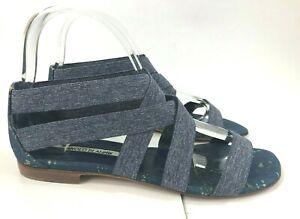 Manolo Blahnik Denim Blue Leoni Gladiator Sandals Stretch Flats Size 39.5 - 9.5