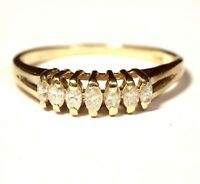 14k yellow gold .27ct SI2 H marqiuse diamond anniversary band ring 2g estate
