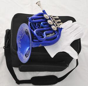Blue Piccolo MiNi French Horn Bb Key Pocket horn Engraving Bell New Case