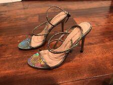 Jean-Michel Cazabat Shimmering Neon Strappy Heels, Size 6.5 (US) 36.5 (EU)