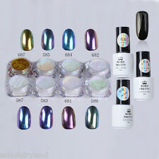 11Pcs Nail Art Black Gel Polish Chameleon Chrome Dust Mirror Glitter Powder DIY