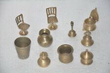 10 Pc Old Brass Handcrafted Engraved Baby Doll House Items, Collectible