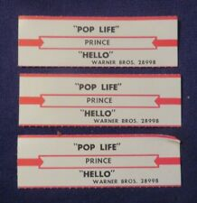 3 Loose 45 Rpm Jukebox Tags/Title Strips Prince Hello/Pop Life