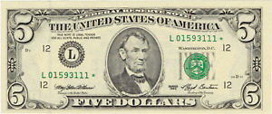 1993 $5 Federal Reserve Star Note San Francisco FRN Rare Issue FR 1983-L*