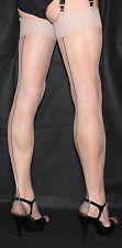 5 Pairs Medium Nude Sheer 15Denier Black Contrast Cuban Heel Seamed Stockings