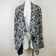 Ruby Rd Woman Gray Black Aztec Open Front Knit Cardigan Sweater Womens Size 2X