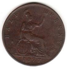 1877 Great Britain Queen Victoria Half Penny KM# 754