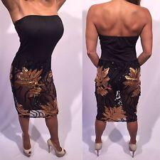 Connie's Black Midi Dress w/ Sheer Sequins Skirt & Strapless Built in Bodysuit M