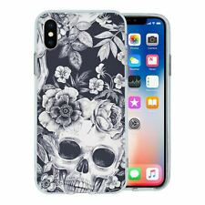 For Apple iPhone XS Max Silicone Case Skull Flowers Pattern - S491