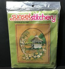 "1979 Sunset Stitchery Crewel Embroidery Kit Summer in the Park 16"" x 20"" Daisies"