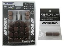 WORK Lug Lock nuts set for 5H 12x1.5 and 4pcs Air Valve caps Brown Value set