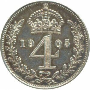 GRANDE BRETAGNE 4 PENCE EDWARD VII 1905 SUP 11.000 ex.