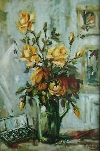 "E.Fabiani, Yellow Roses Floral Traditional Still Life 8"" x 10"" Mounted Art Print"