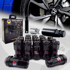 M12 x 1.50mm Black Aluminum/Steel Close End Heavy Duty Wheel Lug Nuts+Socket Key