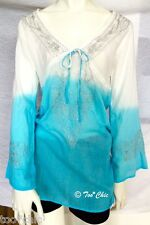RAVIYA Turquoise White OMBRE METALLIC EMBROIDERED Cover-Up Tunic Top! S swim NWT