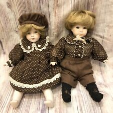 Vtg 14� German Bisque Doll Set Twins Grace Corry Rockwell Boy Girl Brown Outfit