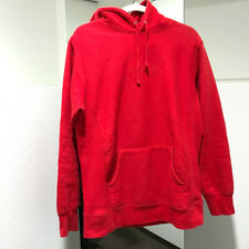 SUPREME Logo Embroidery Hooded Sweater Parka Red cotton