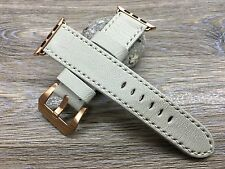 Luxury Genuine Leather Watch band For 38mm & 42mm Apple Watch - Cream White