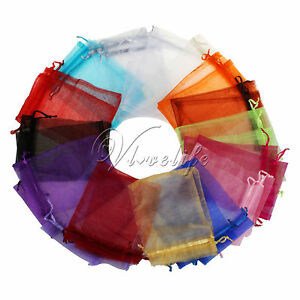 "100 4""x6"" 10cmx15cm Sheer Organza Wedding Christmas Favor Gift Bags Pouches"