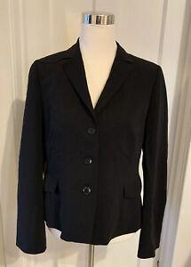 AKRIS Punto Blazer Women's Black 100% Wool Career Jacket Size 12 Switzerland
