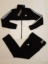 NEW ADIDAS ORIGINALS MENS 3-STRIPES TRACK SUIT BLACK/WHITE JACKET & PANT SIZE SM