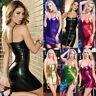 Women's Faux Leather Zipper Bodycon Sleeveless Club Party Wear Short Mini Dress