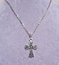Tibetan Silver Cross Pendant Silver Chain Necklace.Handmade