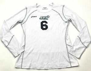 VINTAGE Asics Arizona Volleyball Shirt Size Medium White Long Sleeve Dry Fit USA