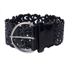 Boho Gift Waistband Unbranded Ladies Hippie Buckle Wide Hip Leather Belt Black One Size
