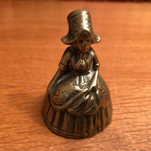 Vintage small brass bell  - Welsh lady- measures approx 5cm tall