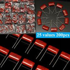 200Pcs 630V 0.001uf~2.2uf 25 Values CBB Metal Film Capacitors Assortment Kit