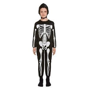 Evil Children Skeleton Costume Boy Skull Bone Costume Outfit Kids World UK Size