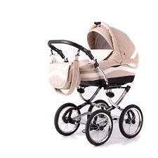Kinderwagen Marsel Classic , 3 in 1- Set Wanne Buggy Babyschale beige
