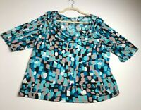 Cato Women Short Sleeve Blouse Top 22 24 W Plus Blue Multicolor Abstract Stretch