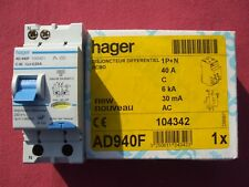 Réf AD940F OU ADC940F DISJONCTEUR DIFFERENTIEL HAGER 1P+N 40A 30mA TYPE AC 240V