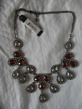 Baby Phat Necklace New Choker Silver Crystals Teardrops Ruby Red Chains New