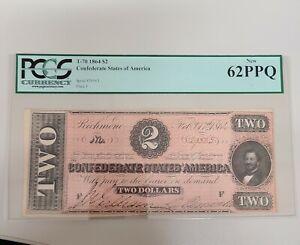 1864 CONFEDERATE $2 DOLLAR BILL T-70 RICHMOND PLATE F PCGS 62 PPQ