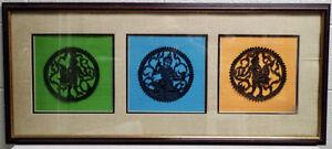 Vintage Hindu Goddess Stencil Shadow Art on Color Fabric Panels Framed Lg. 17x38