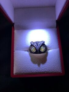 Antiqued 18K Gold Owl Ring Soft Yellow Cat's Eye and 15 Diamonds size 11
