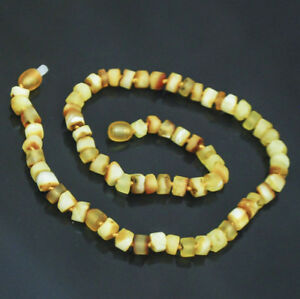 "Men's Baltic amber necklace elegant unpolished yellow  16.5"""
