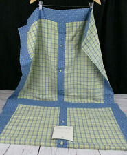 Laura Ashley Euro Pillow Shams Blue Yellow Plaid Floral Button Close 2661