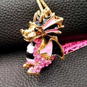 Betsey Johnson Crystal Rhinestone Enamel Cute 3D Dragon Pendant Necklace Chain