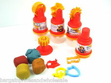 4pc Set Fireman Sam Dough Doh Tubs Shapes Shaper Cutter Roller Press Tool