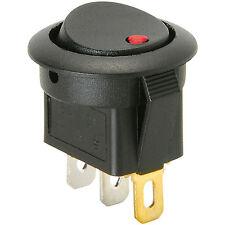 SPST Automotive Round Rocker Switch w/Red LED 12V