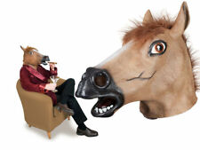 Horse Head Rubber Mask Panto Fancy Dress Party Races Cosplay Adults New
