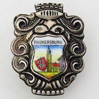 Austria RADKERSBURG CITY Silver Plated Porcelain Vintage Pin Badge