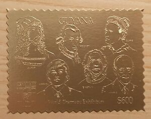 CA chess Schach Guyana 1992 gold stamp MNH xx