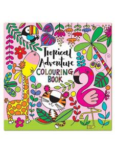 Tropical Flamingo Square Children's Colouring Book by Rachel Ellen Girl Gift Fun