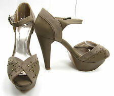 Shiekh Shoes D'orsay Ankle Strap Studed  Heels Beige/Tan Brown Size 9